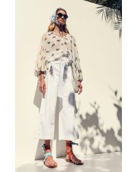 Silvia Tcherassi Salve Belted Cotton Cropped Wide-leg Pants - White
