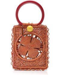 Silvia Tcherassi Small Caetana Iraca Palm Handbag - Orange