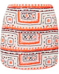 Pia Pauro - Sequin Embroidered Curve Mini Skirt - Lyst