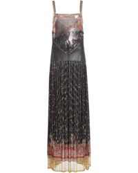 Paco Rabanne Fringe-trimmed Printed Chainmail Maxi Dress - Black