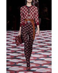 Miu Miu Printed Sleeveless Wool Jumpsuit - Multicolor