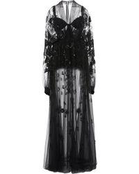 Elie Saab Floral Embroidered Lace Kaftan - Black