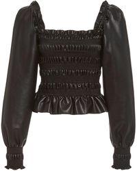 Philosophy Di Lorenzo Serafini Smocked Faux Leather Top - Black
