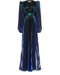 Givenchy Pleated Metallic Silk-blend Maxi Dress - Blue