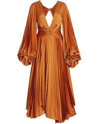 Acler Palms Cutout Plisse Midi Dress - Orange
