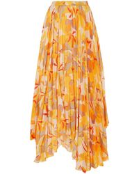 Acler Hooper Golden Pleated Print Skirt - Metallic