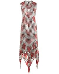 Paco Rabanne Asymmetric Chainmail Midi Dress - Metallic