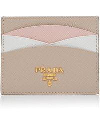 Prada - Color-blocked Textured-leather Cardholder - Lyst