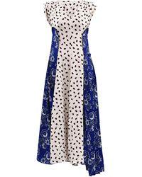 Marni Dual Print V-neckline Satin Dress - Blue