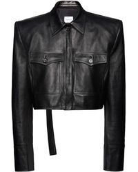 Magda Butrym Collared Leather Jacket - Black