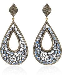 Sanjay Kasliwal | 14k Gold, Silver, Moonstone And Diamond Earrings | Lyst