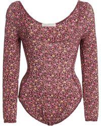 LoveShackFancy Helene Floral Stretch-jersey Bodysuit - Multicolor