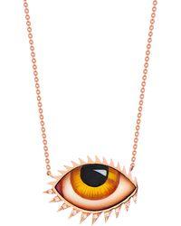 Lito 14k Rose Gold & Diamond Amber Eye Necklace - Brown