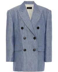 Isabel Marant Lhermine Wool And Cotton-linen Double-breasted Blazer - Blue