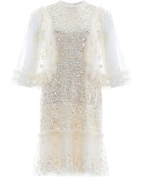 Needle & Thread Melody Sequined Tulle Mini Dress - White