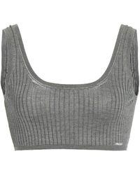 Prada Ribbed Silk Cropped Bra Top - Grey