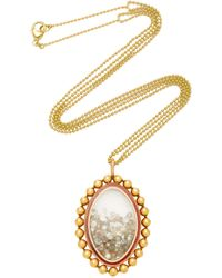 "Renee Lewis One-of-a-kind Gold And Red And White Enamel Rimmed White Diamond ""shake"" Necklace - Metallic"