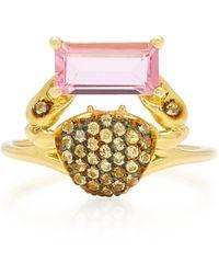 Daniela Villegas Cosquilleo 18k Gold, Tourmaline And Sapphire Ring - Pink