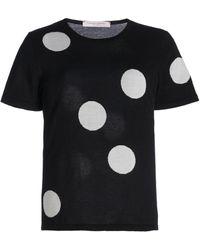 Carolina Herrera Polka-dot Knit Silk-blend Top - Black