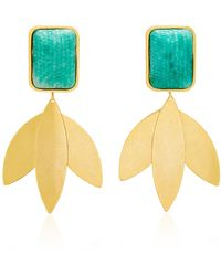 Nicole Romano - Freeborn Gold-plated Brass And Green Snake-effect Earrings - Lyst
