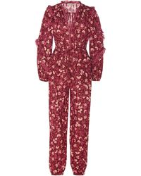 Ulla Johnson Delphine Floral Ruffle Cotton Jumpsuit - Red