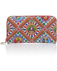 Dolce & Gabbana Printed Leather Continental Zip Wallet - Multicolour