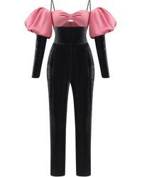 Rasario Puffed Sleeve Satin And Velvet Skinny-leg Jumpsuit - Multicolor