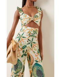 Alexis Gena Printed Linen-blend Crop Top - Green
