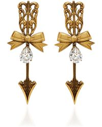 Rodarte - Antique Gold Tailored Bow And Arrow Earrings - Lyst