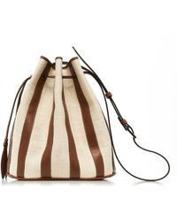 Hunting Season Drawstring Panelled Leather And Canvas Bag - Brown