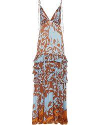 Johanna Ortiz Exclusive Unforgettable Scene Printed Gauze Maxi Dress - Blue