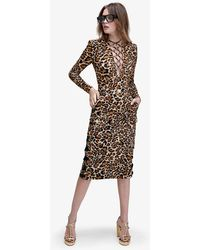 Dundas Berry Animal-printed Jersey Bodysuit - Multicolour