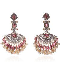 Sanjay Kasliwal - 14k Gold Indorussian Multi-stone Fan Earrings - Lyst