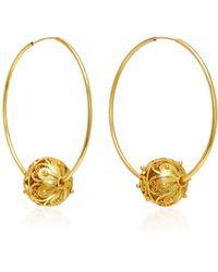 Mallarino - Gala Embellished Filigree Ball Hoop Earrings - Lyst