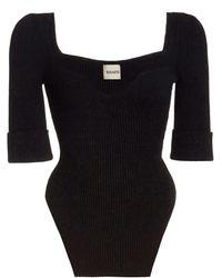 Khaite Irina Ribbed-knit Top - Black