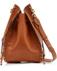 Isabel Marant Taj Studded Leather Drawstring Bag - Brown