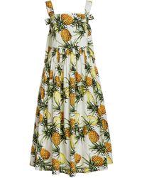 Oscar de la Renta Pineapple-print Cotton Midi Dress - Green