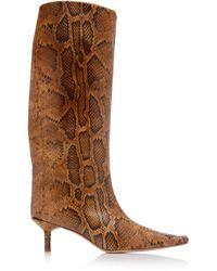 Miista Jenara Snake-effect Leather Knee Boots - Brown