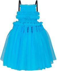 Molly Goddard Barry Smocked Tulle Tie-back Dress - Blue