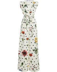 Oscar de la Renta Printed Cut-out Cotton-blend Jumpsuit - Multicolour