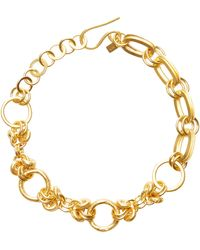 Annie Costello Brown Deka Gold-plated And Silver Necklace - Metallic