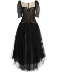 Khaite Desi Ruched Tulle Dress - Black
