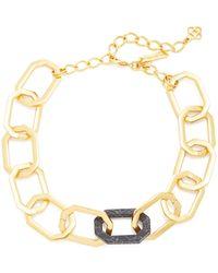 Oscar de la Renta Chain-link Gold-tone And Onyx Necklace - Black