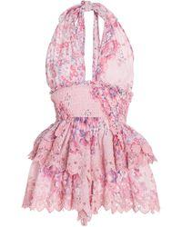 LoveShackFancy Deanna Floral-printed Cotton Dresss - Pink