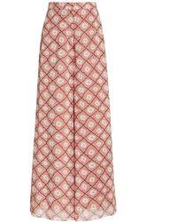 Alexis Elazar Printed Chiffon Wide-leg Pants - Pink