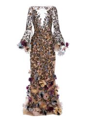 Marchesa Floral-appliquéd Embroidered-tulle Gown - Multicolour