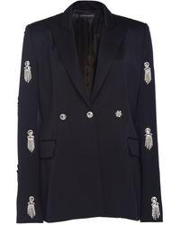 David Koma Crystal Embroidered Blazer - Black