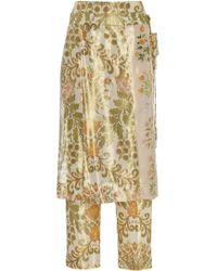 Oscar de la Renta - Printed Skinny Pant With Skirt Drape Overlay - Lyst