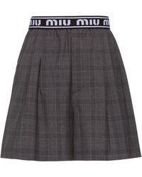 Miu Miu Prince Of Wales Wool Cloth Shorts - Gray