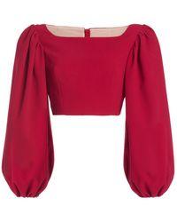Emilia Wickstead Veline Balloon-sleeve Stretch-crepe Crop Top - Red